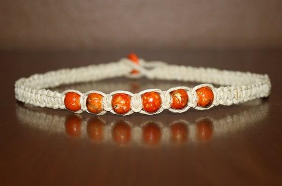 Orange Beads - Hemp Choker Necklace - Square Knot - Women Teen Boy Girl Kid Child Children Unisex - Best Friend Gift - Girlfriend Gift