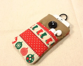 Merry Christmas 002 green and red iPhone sleeve, iPod touch pouch, Kindle case, smart cellphone cover, Samsung galaxy cover