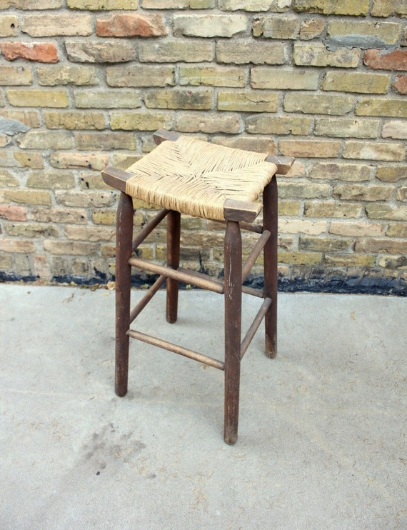 Rustic Wooden Stool Woven Rush Seat Stool Vintage