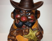 Vintage Original California 726 USA - Sheriff with Hole on his Cowboy Hat Cookie Jar