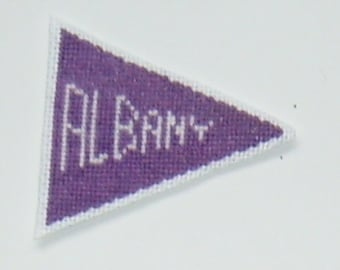 SUNY Albany Cross Stitch Pennant Magnet