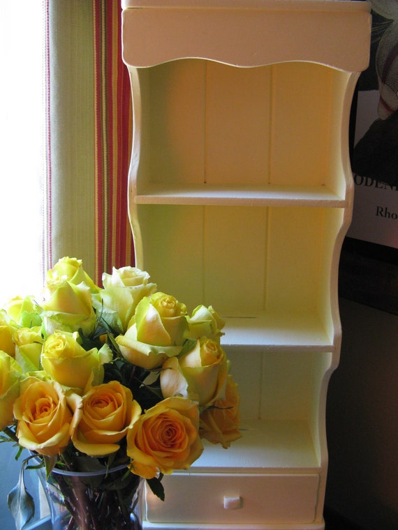Buttercream Yellow wood wall shelf with drawer