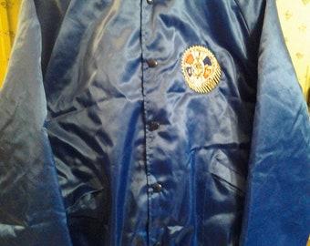 Vintage Union Shiny Blue Satin Jacket  Like New