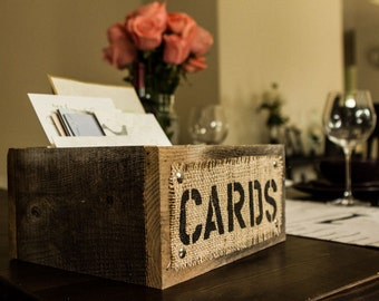 Burlap and Reclaimed Wood CARDS Box for Rustic Country Wedding Hand Painted and stenciled