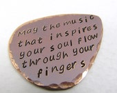 Personalized Copper Guitar Pick, Custom Guitar Pick, music lover, valentines day, 7th Anniversary, Copper Anniversary. Nicole