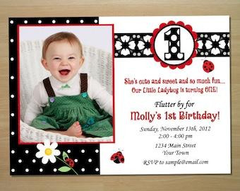 Ladybug 1st Birthday Invitation - Digital File (Printing Services Available)