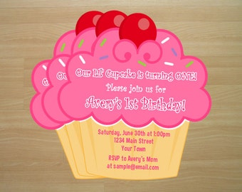 Cupcake Birthday Invitations - Digital File - Digital File