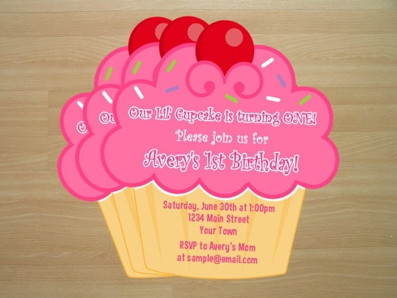 DIY Cupcake Birthday Invitations Digital File by ...