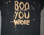 Black splattered bleach mean girls quote T-Shirt with short rolled sleeve and skull stud detail