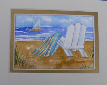 "White Beach Chair Ocean ORIGINAL Art Miniature Watercolor 5"" x 7"" matted by Sally Tia Crisp"