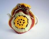 Vintage Crochet Tea Cosy, Cozy. Handmade Crochet Tea Cosy, Cozy. Vintage Tea Pot Cover, with Sunny Yellow Flower Motif. Vintage Kitchenware.
