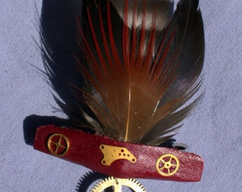 Handmade Red and Black Steampunk Feather Barrette or Fascinator
