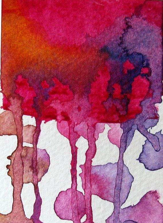 Original ACEO ATC Artist Trading Card Original Abstract Acrylic Painting on paper OOAK