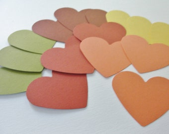 Fall Autumn Paper Heart Cut Outs Cutouts Fall Wedding Wish Tags Scrapbook Embellishments Gift Tags Decorations  Set of 50