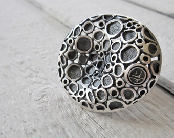 Adjustable Handmade Artistic Ring in Recycled 925 Black Sterling Silver, Oxidized Antiqued Sterling