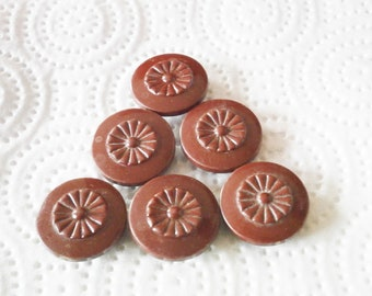 6 Antique Vintage  Buttons Color Burgundy C17
