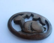 Vintage Wooden English  Deer Brooch Collectable Bambi
