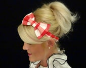 Red and white checkered bow stretch headband retro/pinup/feminine