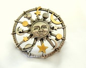 Vintage Brooch with Moon and Stars by JJ