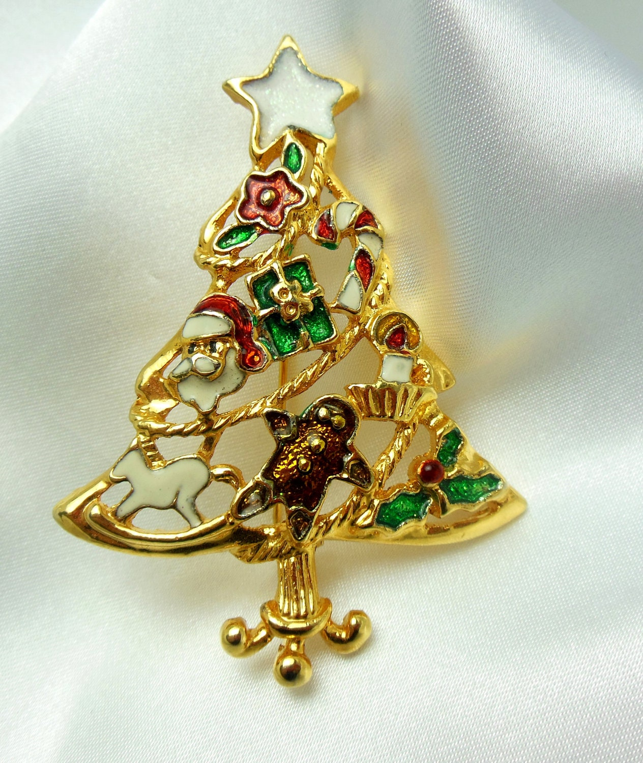 Vintage Christmas Tree Brooch With Toy Decorations