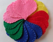 Reserved Order for Marie - Rainbow Felt Heart Embellishments (15 Hearts)