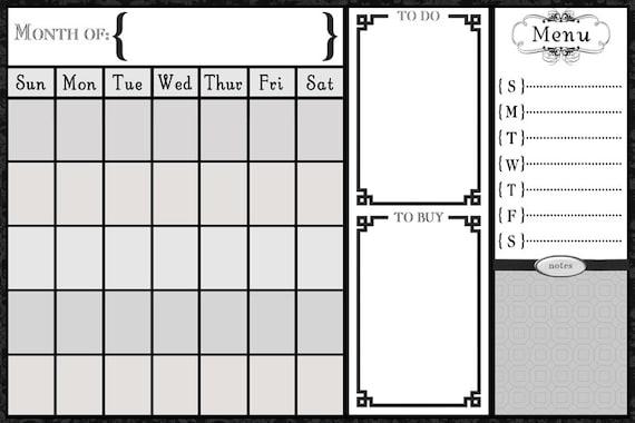 Dry Erase Calendar Template : Items similar to grayscale alyssa calendar
