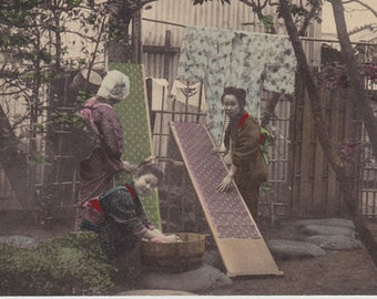 Vintage Postcard ofJapanese Women Cleaning Silk on Boards Postmarked 1918