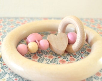 Wooden teether, wood toy, baby rattle, rattle teether