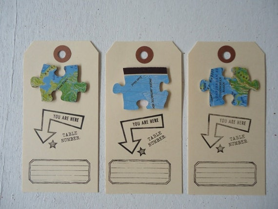 10 Place Cards Vintage Travel Theme Puzzle Pieces Table Assignment Cards