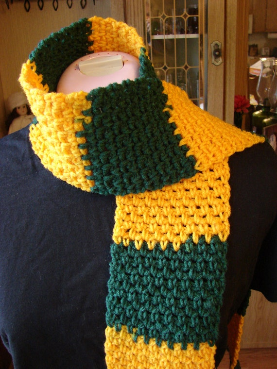 crochet green and gold scarf by dunmirecrochetcorner on etsy