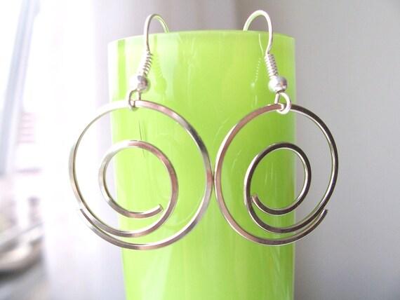 Silver metal circular swirl earrings - circular earrings - round earrings - metal earrings - silver earrings - metal swirl jewelry