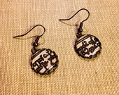 """Elvish Earrings, made with genuine """"The Hobbit"""" map pages"""