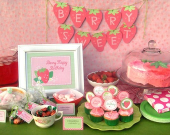 Strawberry Birthday Party Printable Set: Instant Download - Includes Banner, Cupcake Toppers, Invitations, Welcome Sign, Favor Tags...