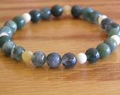Moss Agate and Calcite Semi-Precious Stretch Bracelet