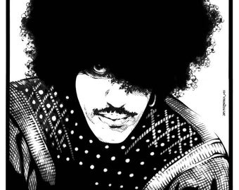 "Philip Lynott Potrait Pen and Ink 1982 8x11"" Print"