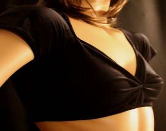 BLACK VELOUR CROP top, bellydance , belly dance, casual, cover up, bolero
