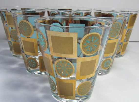Atomic Gold & Aqua Highball Glasses Culvar like Style