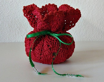 Christmas Crochet Handmade Pineapple Pouch Gift Bag Reusable