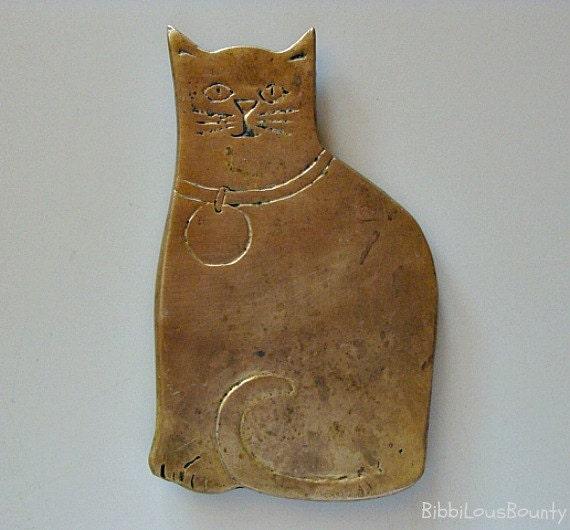 Vintage Cat Trivet Brass By Rubel