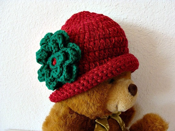 Baby Girl Christmas Crochet Cloche Red and Green