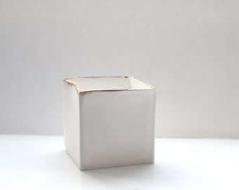 Small snow white cube made from English fine bone china and real gold rims - geometric decor