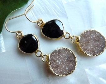 Midnight Black Onyx Druzy Drusy 18K  Vermeil Gold Bezel Dangle Earrings.  Modern Holiday Gifts For Her