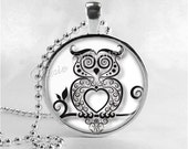 OWL Necklace, Bird Necklace, Owl Pendant, Owl Jewelry, Glass Art Pendant Charm, Bird Jewelry, Owl Silhouette
