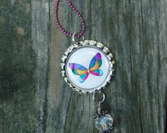 Rainbow Butterfly, Colorful Bottle Cap Charm Necklace