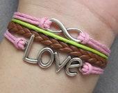 Karma Bracelet - Silver Infinity Bracelet, Silver Love Bracelet , Pink Wax Cords & Brown Leather Braid Chain-W020