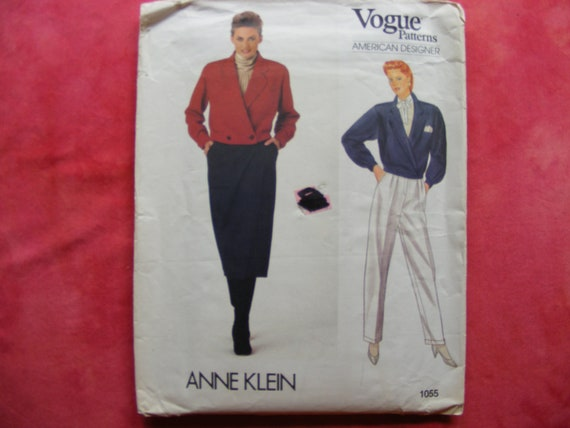 Vogue vintage sewing pattern 1055 by designer Anne Klein for misses size 14 jacket, pants and skirt