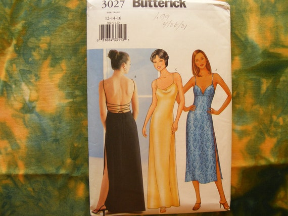 Butterick sewing pattern 3027 for misses sizes 12 - 16 evening dress in 2 lengths.