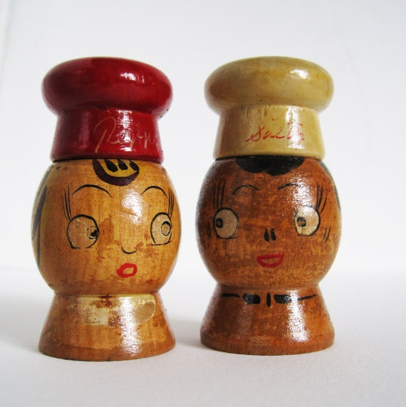 Wooden Vintage Salt And Pepper Shakers With By