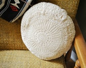 vintage throw pillow with handmade lace both sides