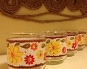 Set of 7 Vintage 70's Libbey Floral patterned glass cups